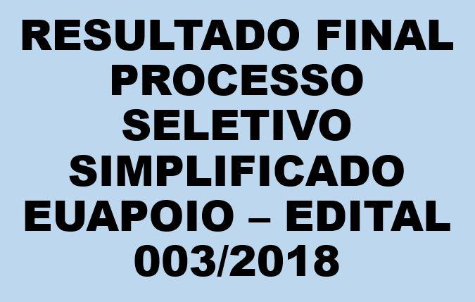 Daest divulga resultado final do edital 003/2018 - Programa EuApoio