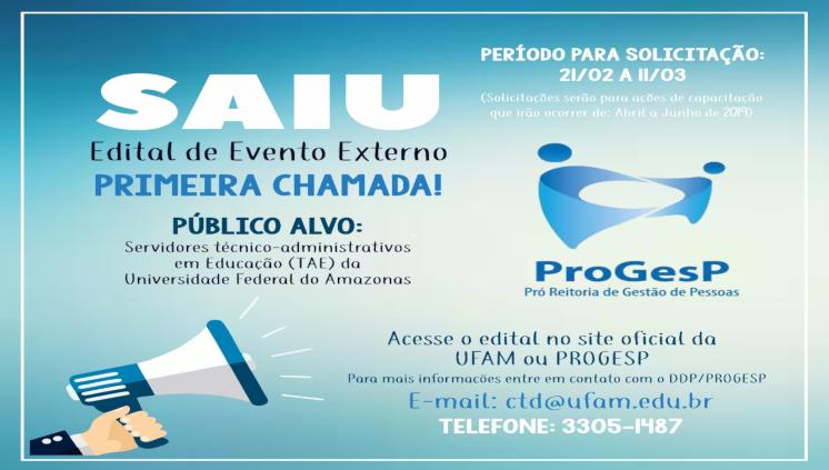Processo Seletivo para participação de  Servidores TAES da  UFAM em Eventos Externos de Capacitação no Brasil.