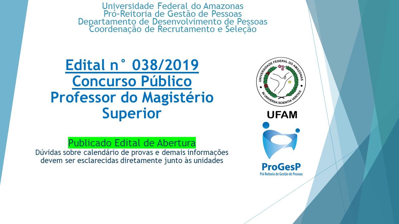 Edital 038.2019 - Concurso Professor do Magistério Superior
