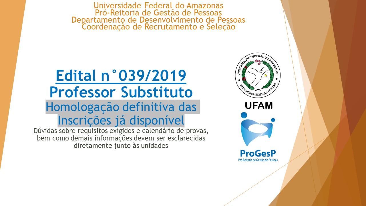 Edital 039.2019 - Professor Substituto