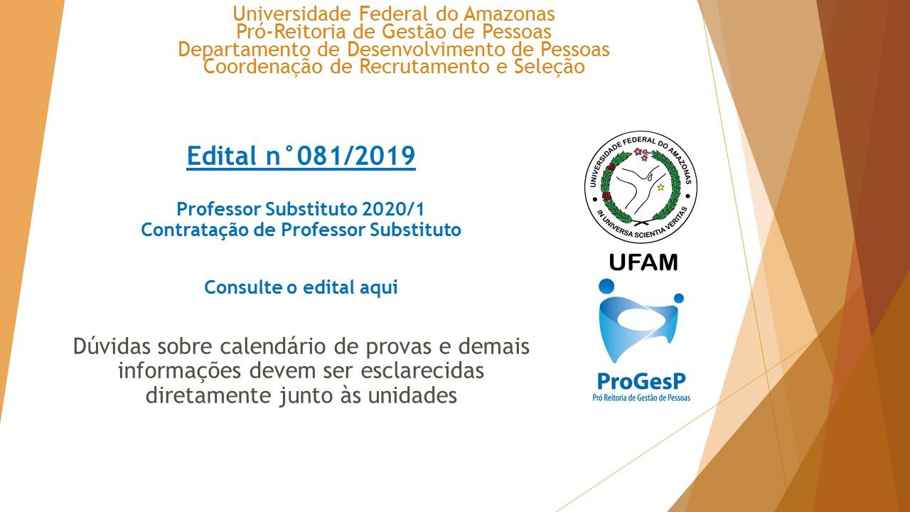 Edital 081.2019 - Professores Substitutos