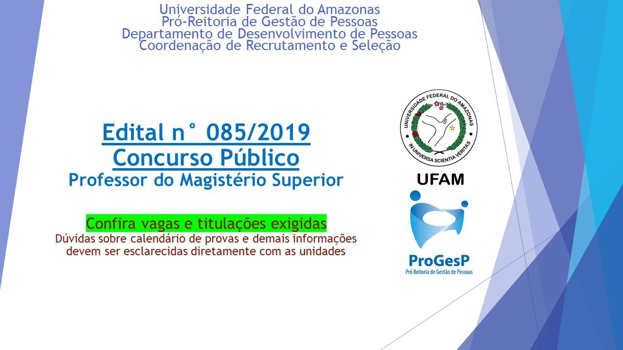 Edital 085.2019 - Professor do Magistério Superior
