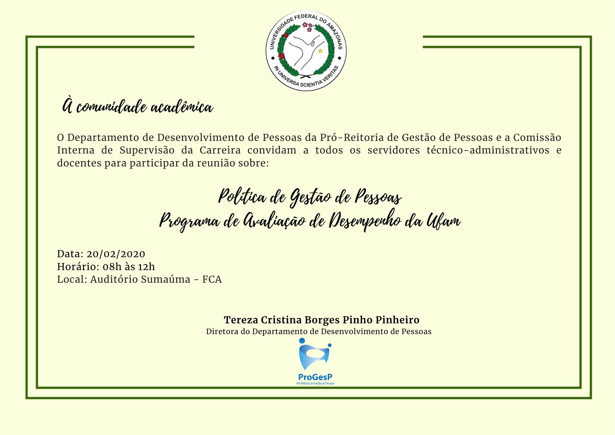 Reunião sobre Política de Gestão de Pessoas e Programa de Avaliação de Desempenho